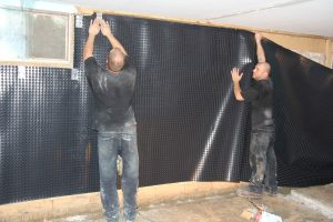 Air gap membrane installation to at least grade height