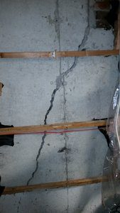 Crack in poured concrete foundation
