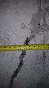 Wide foundation crack