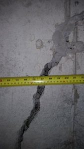 Very wide structural foundation crack