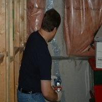 A foundation crack being injected with epoxy