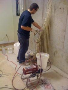 Polyurethane foundation crack injection in progress