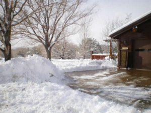 snow around a home