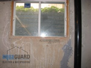 Soil staining provides ample evidence that the window well has been filling up with water